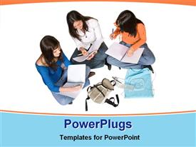 PowerPoint template displaying three female students with notebooks and pencils studying together