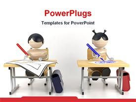 PowerPoint template displaying boy and a girl studying in classroom drawing education