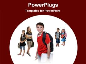 PowerPoint template displaying school students carrying school bags and books smiling of a white background