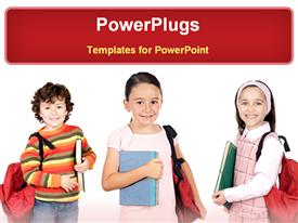 PowerPoint template displaying three young children with school books and bags smiling
