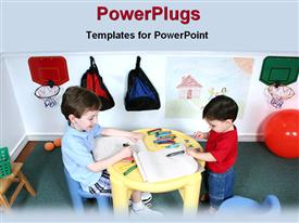 PowerPoint template displaying two children playing with crayons and books in a class room