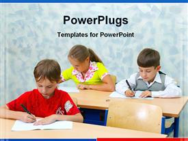 PowerPoint template displaying three students hard at work in classroom
