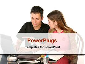 PowerPoint template displaying students studying together in the background.