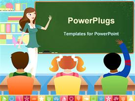 PowerPoint template displaying teacher in classroom teaching young students in preschool or elementary school setting