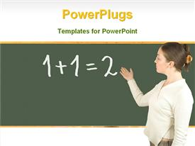 PowerPoint template displaying a teacher in a classroom teaching maths
