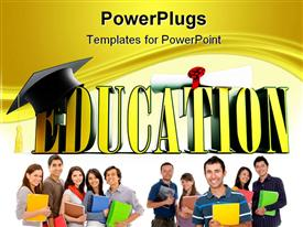 PowerPoint template displaying 3D yellow education word with graduation hat and diploma and students holding books and notebooks
