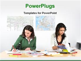 PowerPoint template displaying two girls are learning