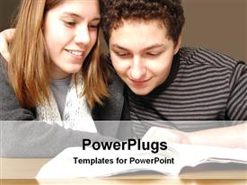 PowerPoint template displaying two studious students reading from a book on wooden desk