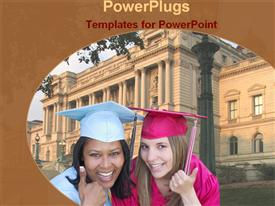 PowerPoint template displaying two smiling adult females smiling together wearing graduation gowns