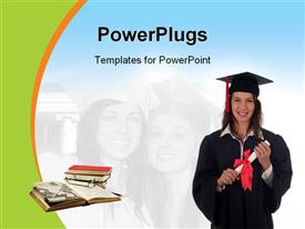 PowerPoint template displaying woman in graduation robes holding a degree in the background.