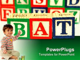 PowerPoint template displaying wood toy blocks spell the word bat