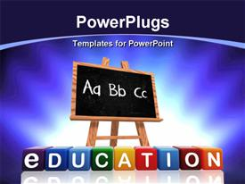 PowerPoint template displaying a blackboard with bluish background and place for text