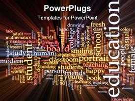Word cloud concept education studies glowing light effect powerpoint design layout