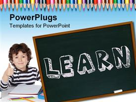 PowerPoint template displaying young boy with thumbs up ready to learn with chalk board