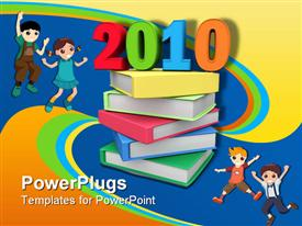 PowerPoint template displaying year 2010 on top of colorful books 3D