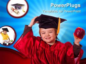 PowerPoint template displaying baby wearing a red colored graduation gown and cap holding an apple