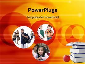 PowerPoint template displaying young kids are ready for school. Education family learning