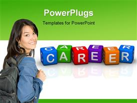 Career (buzzword colorful cubes 3D hires series) powerpoint design layout