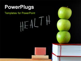PowerPoint template displaying three apples on book stack with HEALTH written on blackboard