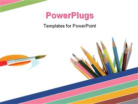 PowerPoint template displaying color pencils