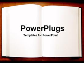 PowerPoint template displaying an open book with blank pages as a metaphor on a brown background