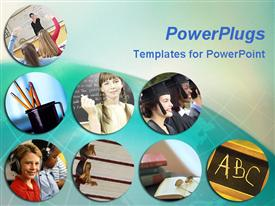 PowerPoint template displaying depictions of education, classroom, school supplies, students
