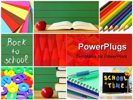 PowerPoint template displaying a number of books and pens with an apple and reddish background