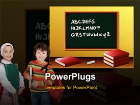 PowerPoint template displaying two kids in the school with a lot of books in the background