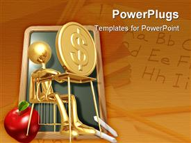 PowerPoint template displaying gold figure sitting at desk with a coin and red apple on floor, value of education
