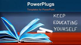 PowerPoint template displaying education concept open book on the desk in the classroom chalkboard with education word back to school