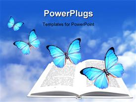 Open book with blue butterflies flying around it powerpoint design layout