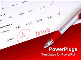 PowerPoint template displaying passed test with A grade white paper and red background