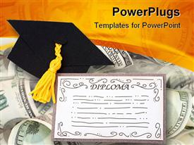 PowerPoint template displaying diploma and graduation cap on American Currency