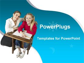 PowerPoint template displaying teacher kneeling beside a pupil both smiling on  white and blue background