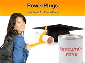 PowerPoint template displaying a girl with a graduation cap in the background