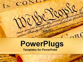 PowerPoint template displaying the united states of american constitution history of founding fathers values as a metaphor on a neutral background