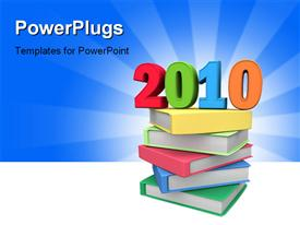 Year 2010 on top of colorful books 3D powerpoint template