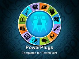 PowerPoint template displaying education themed icons on a round wheel in the background.