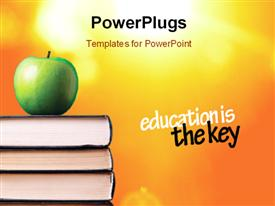 Apple over books powerpoint design layout