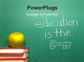 PowerPoint template displaying education is the Key written on a chalkboard in the background.