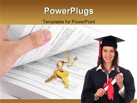 PowerPoint template displaying open book and golden key, concept of success in education