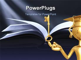 PowerPoint template displaying gold plated man on graduation cap with golden key and open book over grey background