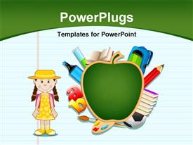 PowerPoint template displaying notepad with artwork of green apple, letters and cute kid