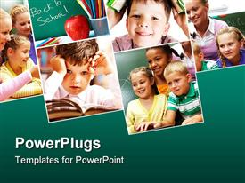 PowerPoint template displaying collage with six depictions related to school and education with pupils, back to school words on green chalkboard, kid reading in an open book, kids with teacher