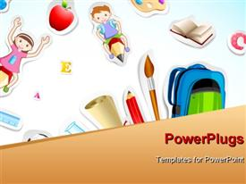 PowerPoint template displaying a paint brush with a number of kids