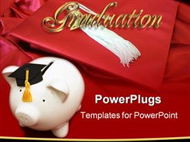 PowerPoint template displaying piggy bank with graduation cap - cost of education