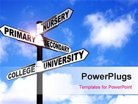 PowerPoint template displaying signpost showing different levels of the school education system against a blue cloudy sky