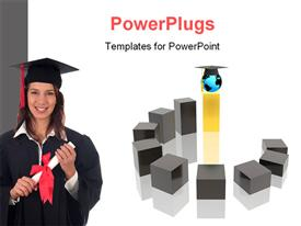 PowerPoint template displaying beautiful lady holding diploma with graduation cap on white background