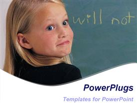 PowerPoint template displaying a smiling lady with a text which spells out the word