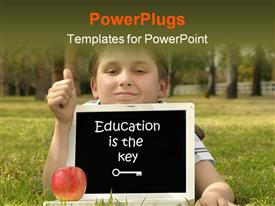PowerPoint template displaying kid with thumbs up next to laptop with red apple